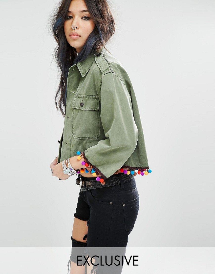 b6e1645cfaab2 Milk It Vintage Cropped Shirt Jacket With Pom Pom Trim | Womenswear ...