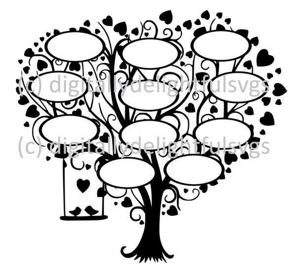 Family Tree 11 svg Family tree, Tree silhouette, Cricut free