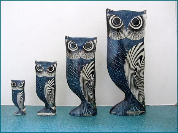Night and Day Owl Family ranges in size from ten inches to three and a half inches.