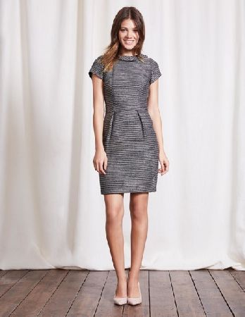 fd666c8d088b #Boden Martha Tweed Dress Grey Tweed Women Boden, Grey #Because breakfast  cant always be at a jewellery store, weve combined a roll neck, stretch  fabric and ...