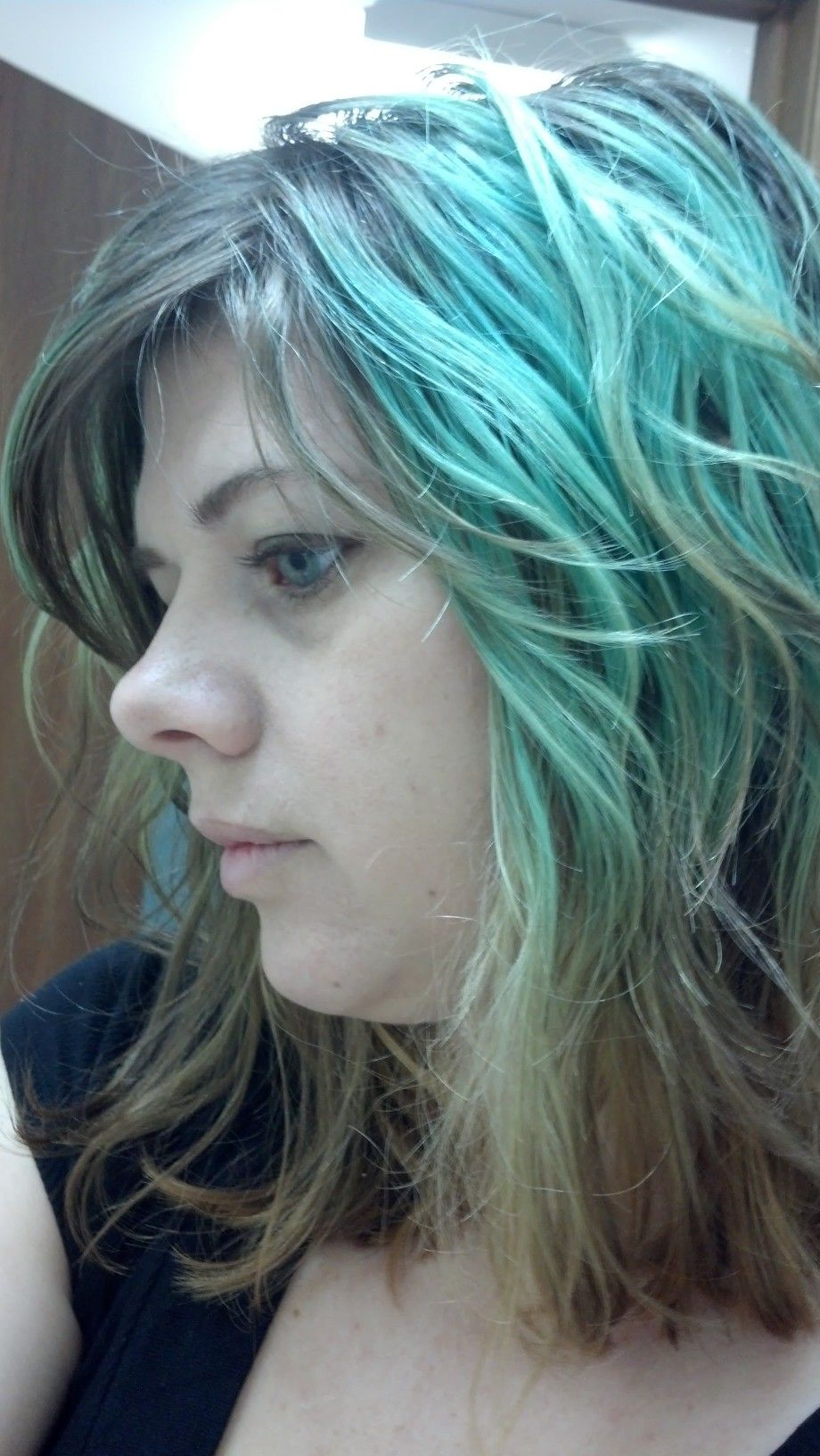 Faded Blue Over Older Blue Green And Green Colored Highlights Dyed Hair Hair Styles