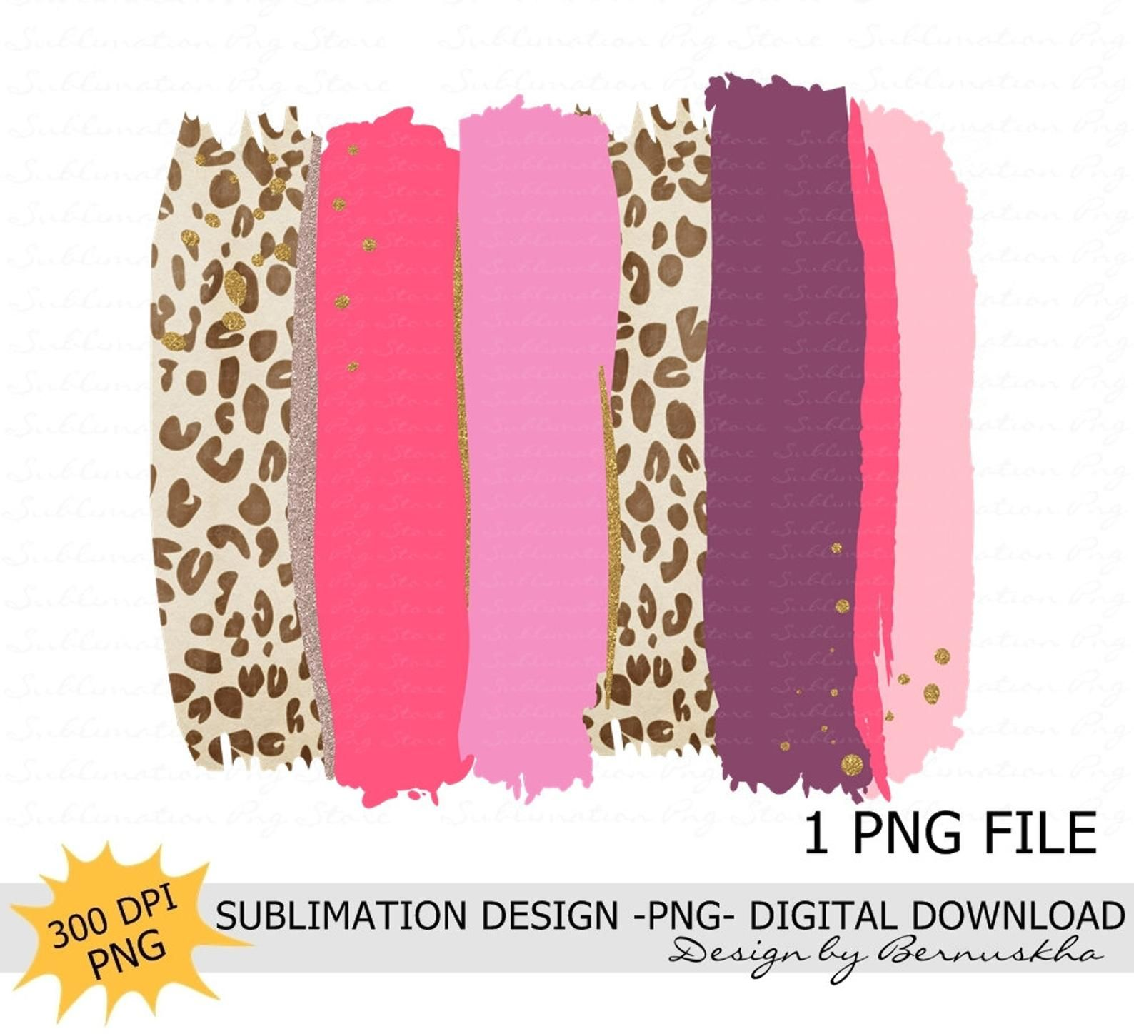 Pink Leopard Brush Strokes Background Sublimation Design Etsy Diy Prints Brush Strokes Pink Leopard