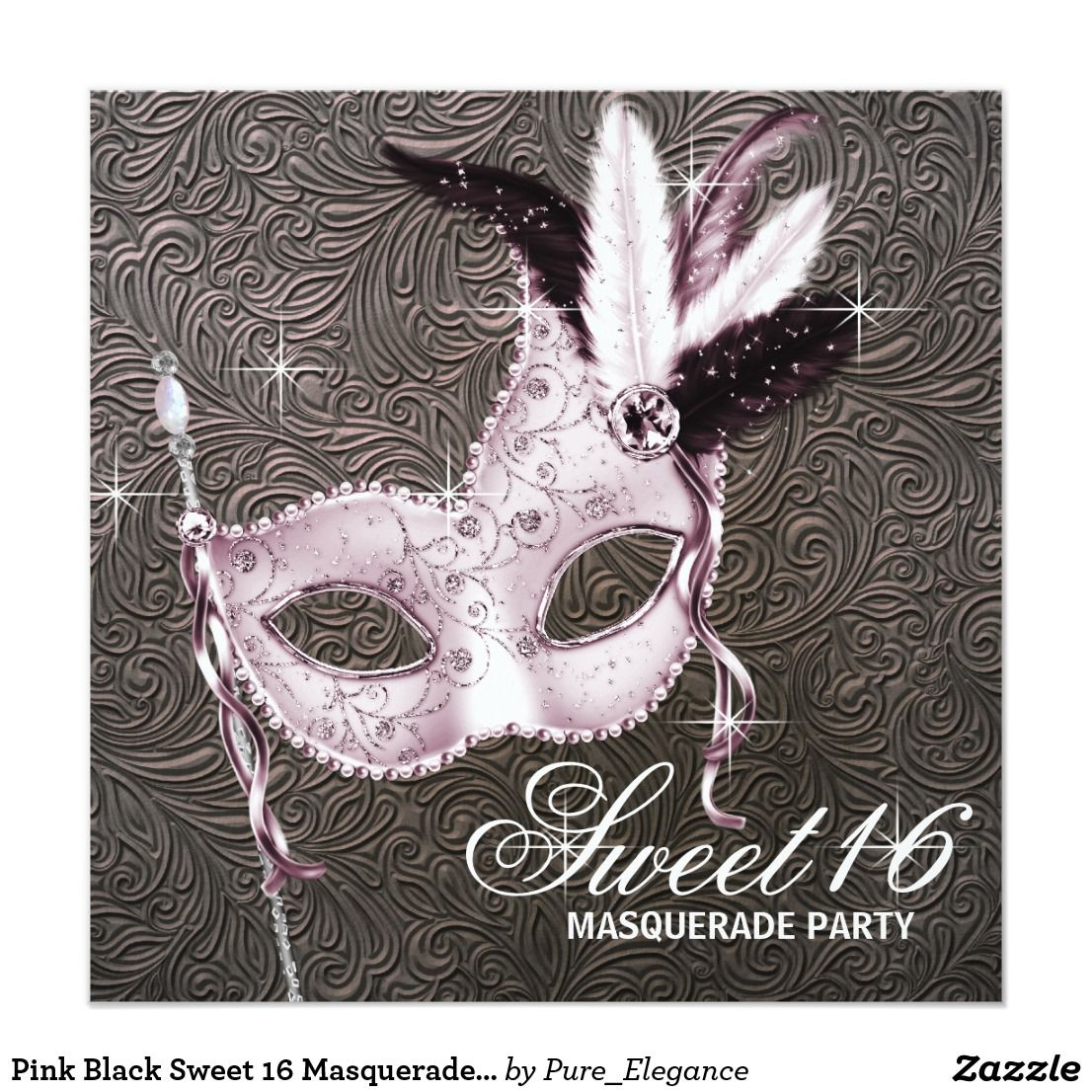 Pink black sweet 16 masquerade party invitation happy birthday this beautiful pink and black masquerade party invitation template is easily customized for filmwisefo