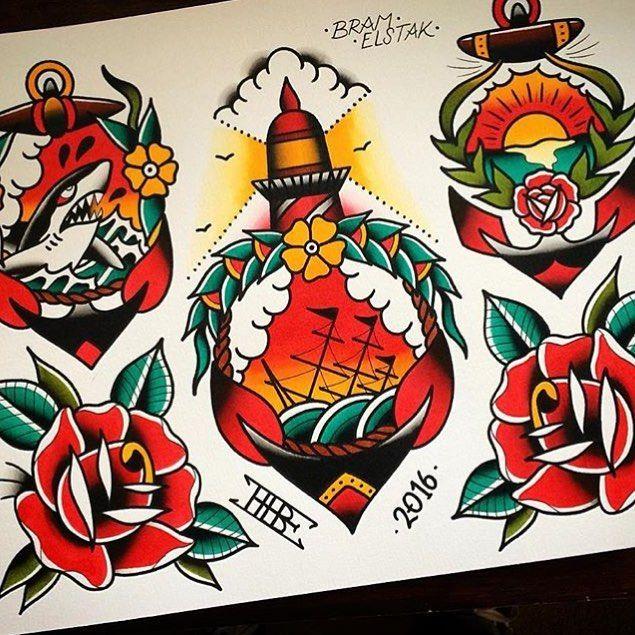 WEBSTA @ traditional_flash - Flash by @bram_elstak #trflash#traditional_flash#tattoo#tattooflash#traditional#traditionaltattoo#traditionalflash#tattooart#flash#art#illustration#drawing