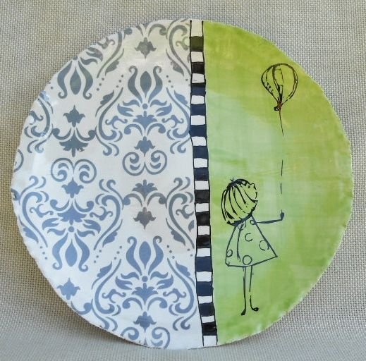 Love the mix of color and pattern and doodle. Very sweet hand painted plate. & Love the mix of color and pattern and doodle. Very sweet hand ...