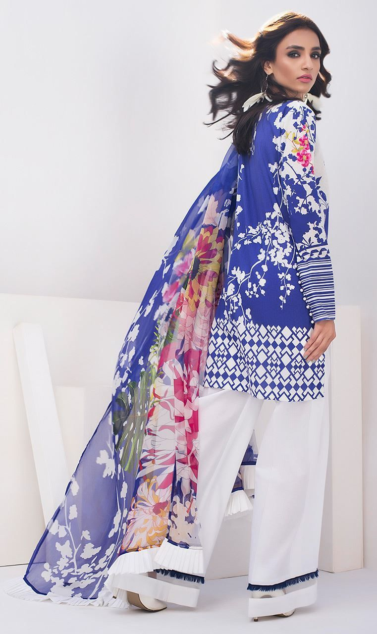 Vibrant and scintillating blue colored three piece unstitched lawn