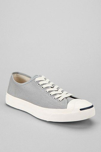 converse jack purcell gray x694  Converse Jack Purcell Low-Top Sneaker in light gray canvas