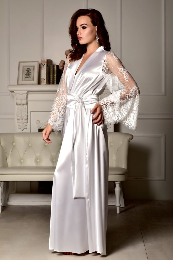 Long bridal robe Long white robe Wedding kimono Long lace