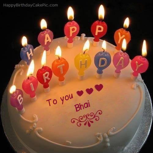 Candles Happy Birthday Cake For Bhai With Name Bhai Happy Birthday