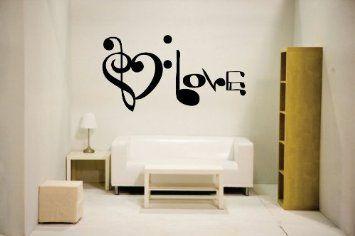 MUSIC NOTES SPELLING LOVE-VINYL WALL DECAL STICKER ART-STUDIO//HOME DECOR//MURAL