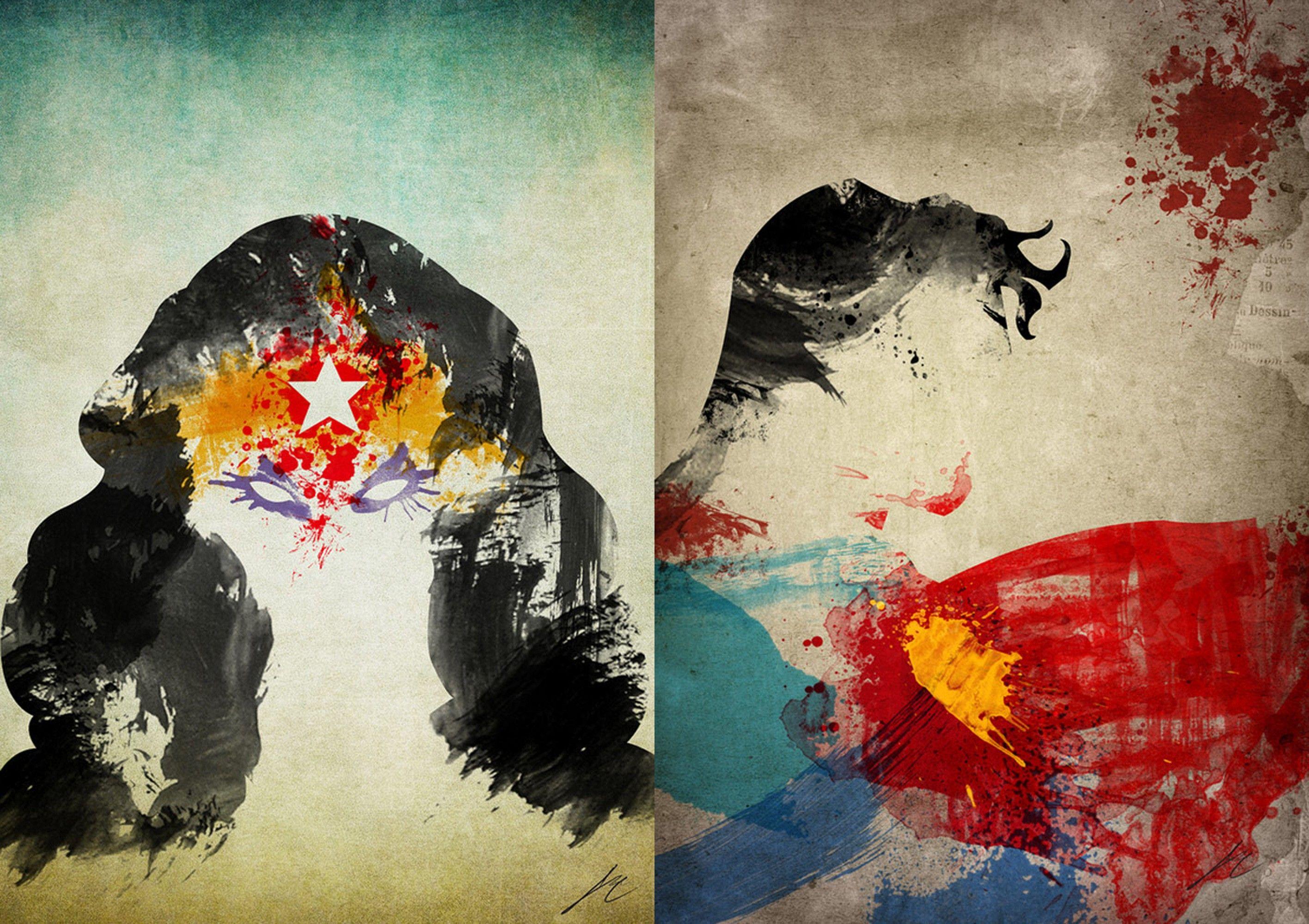 DC Comics comics Superman paint artwork Wonder Woman - Wallpaper (#1771089) / Wallbase.cc ...