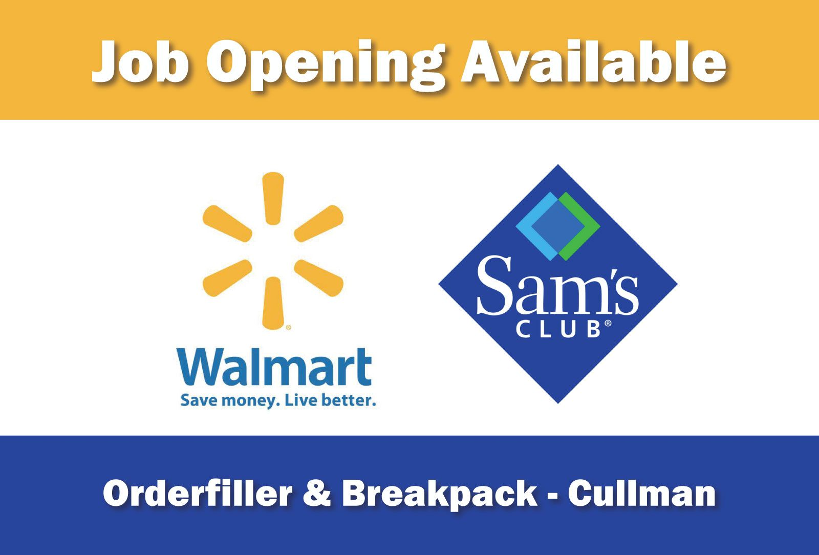 Job Opening Available Order Filler Employer Walmart Distribution