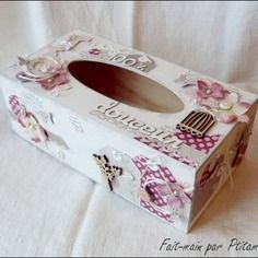 bo te mouchoirs d cor e fa on scrapbooking blanc gris rose napkins case pinterest gris. Black Bedroom Furniture Sets. Home Design Ideas