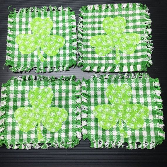 Set Of 4 Shamrock Green Checked Woven Coasters St By