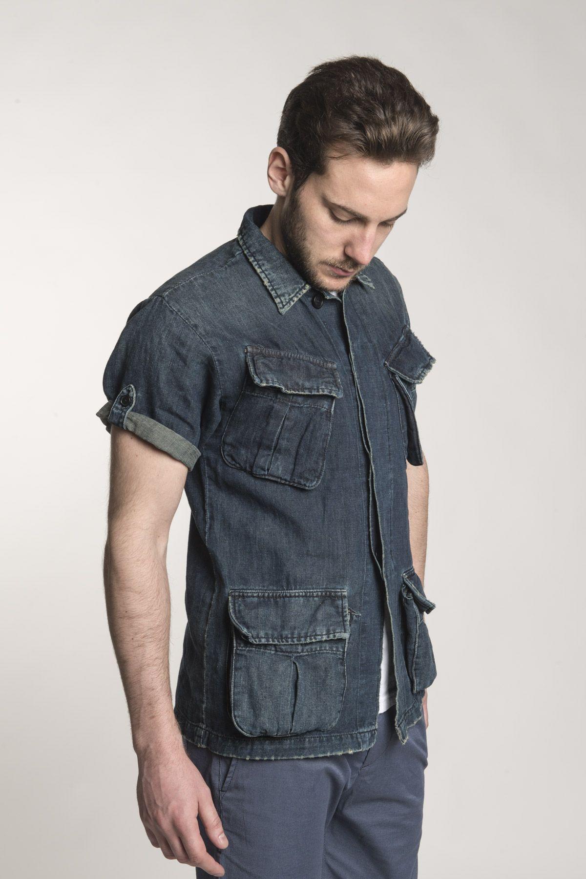 b3486e3eac3 Mens Short Sleeve Black Denim Shirt - BCD Tofu House