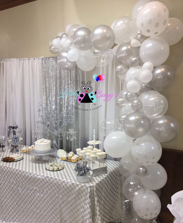 White Silver Organic Balloon Garland 25th Wedding Anniversary