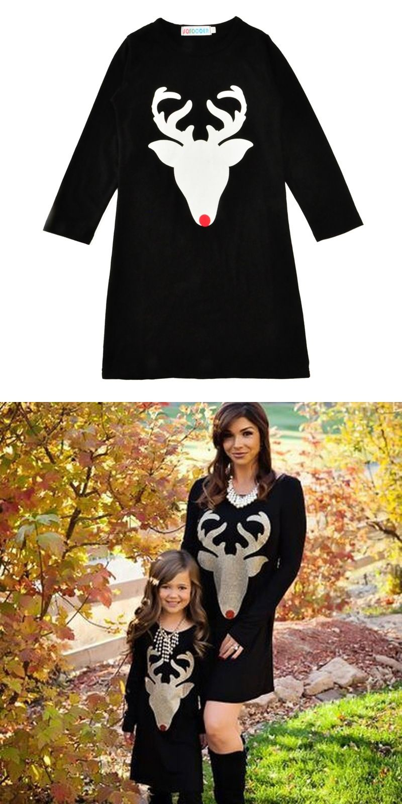 8e8979bd73263 Long Sleeve Black Dress for Mother Daughter Family Matching Clothes Cartoon  Girls Dresses Spring Fall Clothes