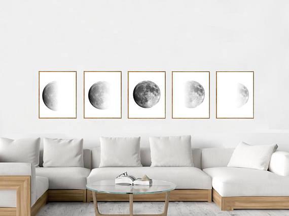 Moon Art Print Phases Lunar Poster Black White Set Of 5 Luna Night Sky Minimalist Art Scandin Mit Bildern Kleines Wohnzimmer Dekor Landhausstil Wohnzimmer Zimmerdekoration
