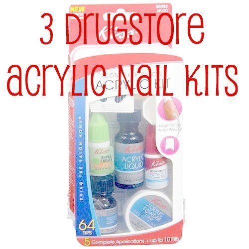 3 Drugstore Acrylic Nail Kits Acrylic Nail Kit Nail Kit Diy Acrylic Nails