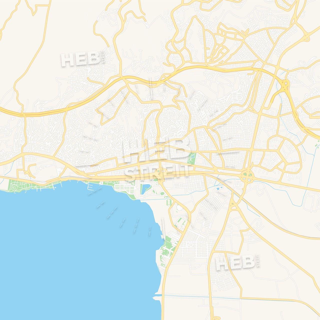 Izmit, Turkey Vector Map - Classic Colors | Maps Vector ...
