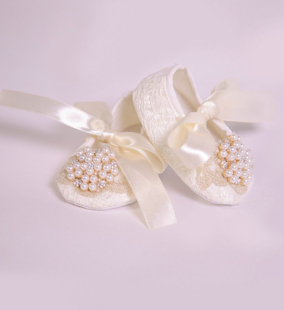 Handmade Pearl   Lace Baby Shoes  5352283d7179