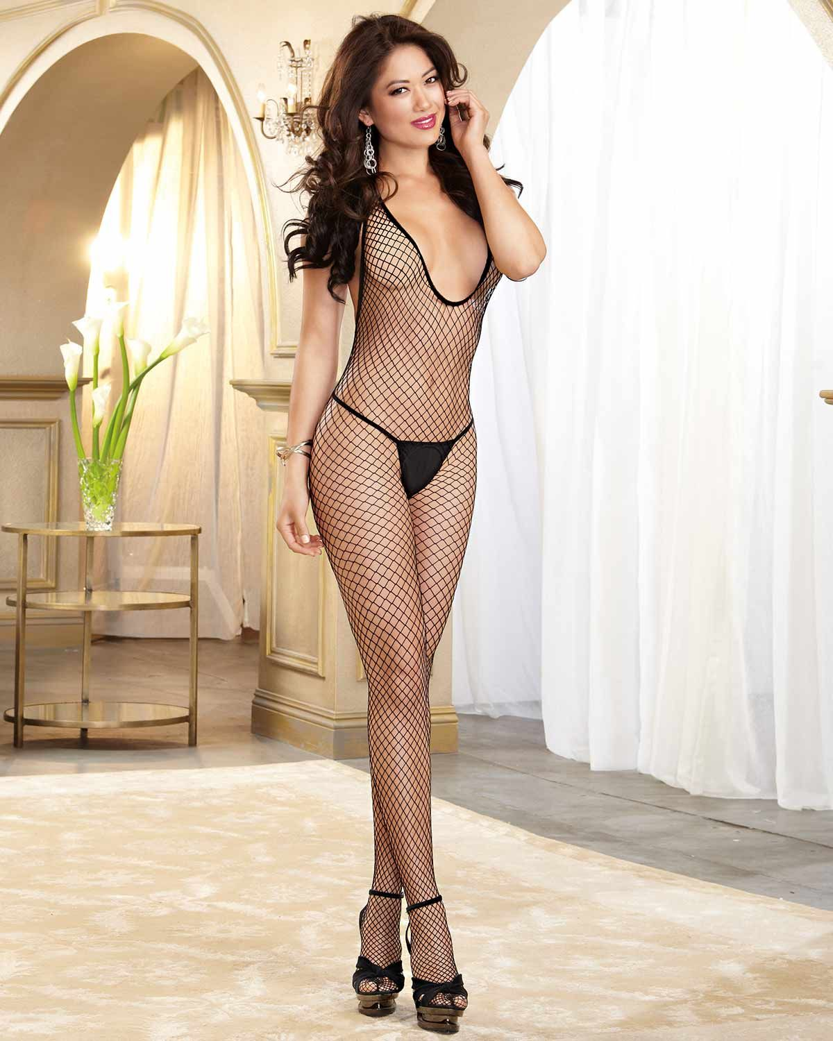 082015373 Be a bit daunting with the  Dreamgirl  Diamond  Fishnet Halter  OpenCrotch   Bodystocking