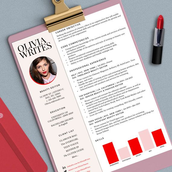 Modern \ Feminine Résumé Template - Custom Résumé\/CV - Instant - resume ms word format
