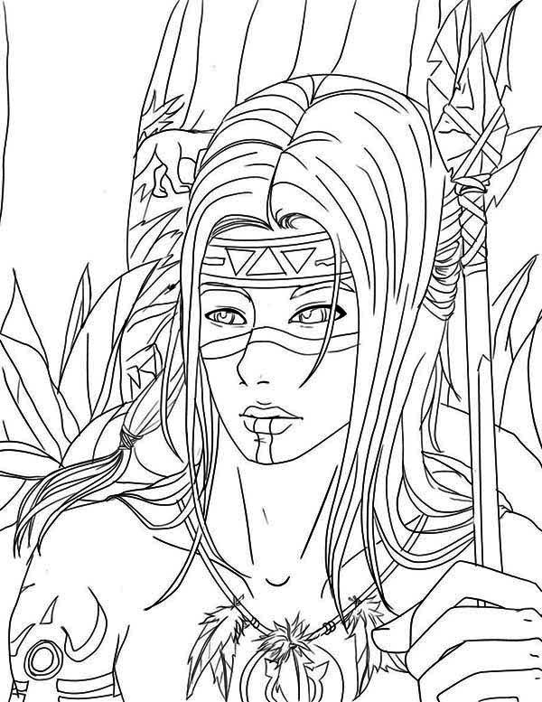 Native American Warrior Coloring Page Kids Play Color Horse