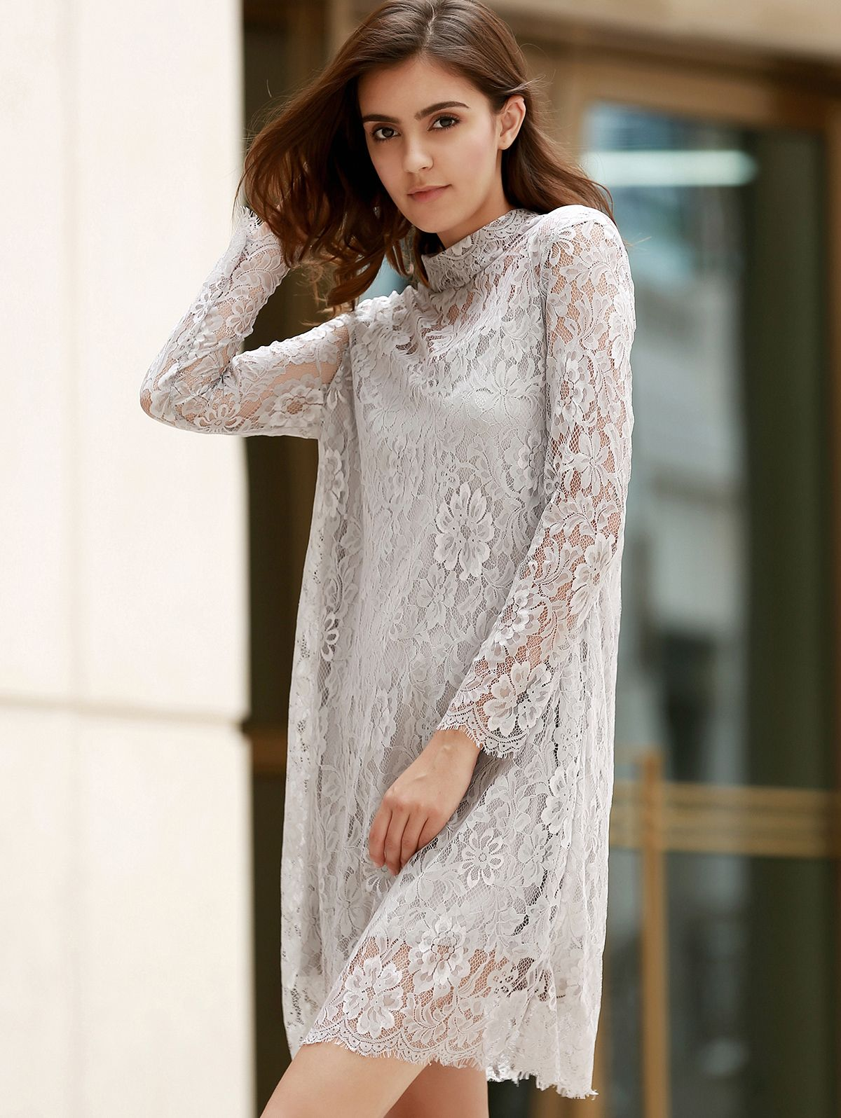 Seethrough long sleeve openwork lace dress pinterest lace dress