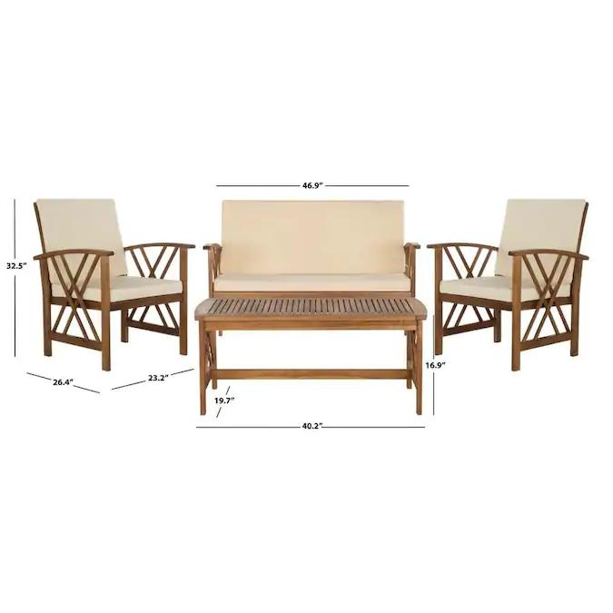 Safavieh Fontana 4-Piece Wood Frame Patio Conversation Set ... on Safavieh Outdoor Living Fontana id=42293