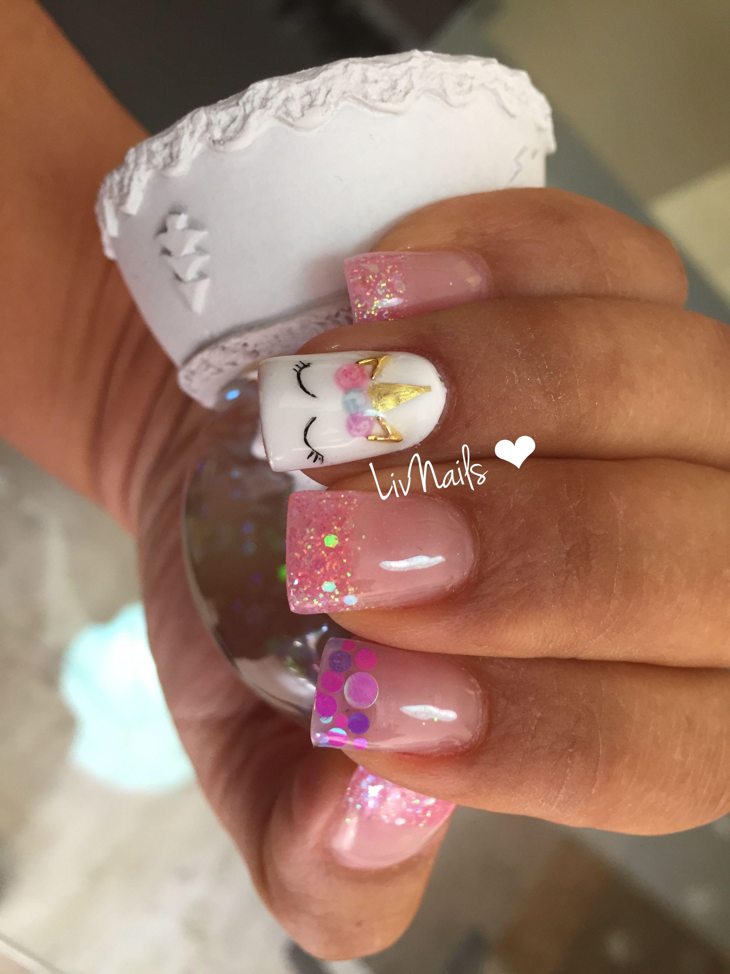 Uñas #Unicornio #confetti #Glitters #LivNails | Arte uñas ...