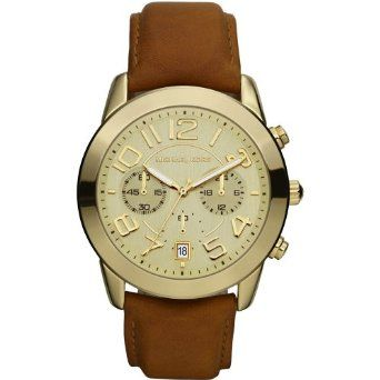 Michael Kors Champagne Dial Brown Leather