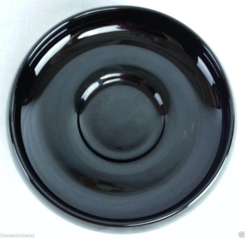 Vintage Black Amethyst Glass Console Bowl Round Shaped 2 3 8 Tall
