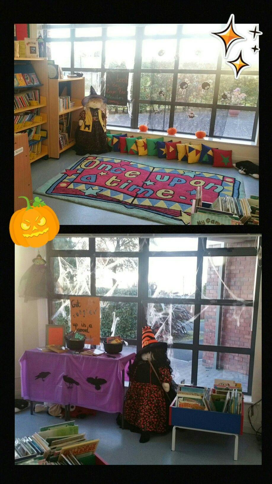 School library at Halloween.
