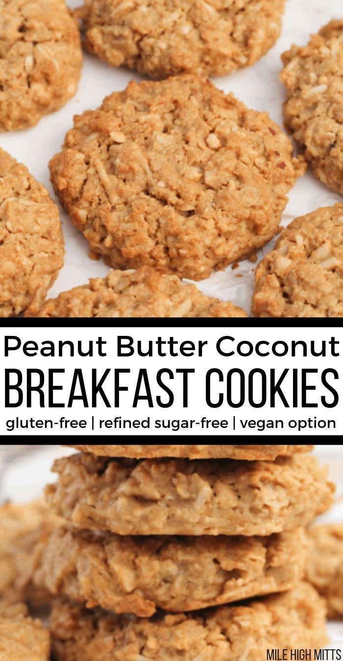 Peanut Butter Coconut Breakfast Cookies (gluten-free, refined sugar-free, vegan option) - Mile High Mitts #sugarfree Peanut Butter Coconut Breakfast Cookies (gluten-free, refined sugar-free, vegan option) - Mile High Mitts #glutenfreebreakfasts