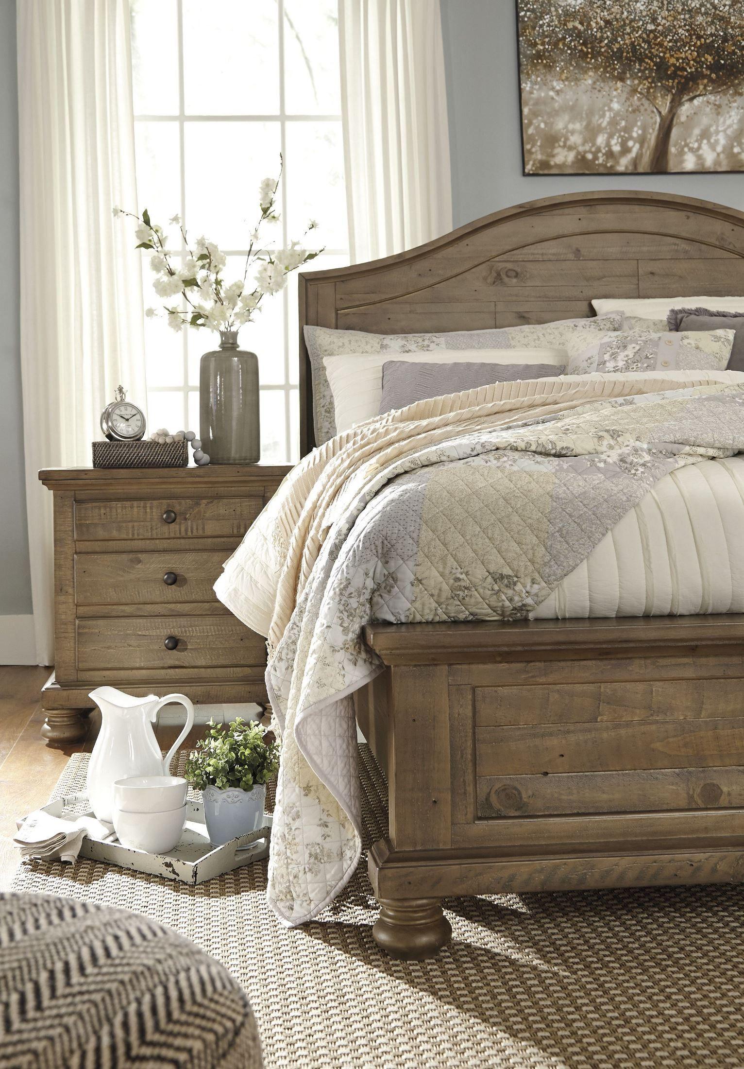 Trishley Light Brown Queen Panel Bed Furniture Oak Land Ashley Bedroom