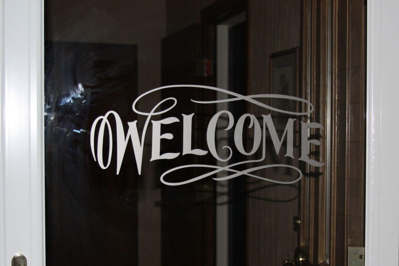 Welcome Vinyl Glass Door Or Window Decal Etched 15 95 Via