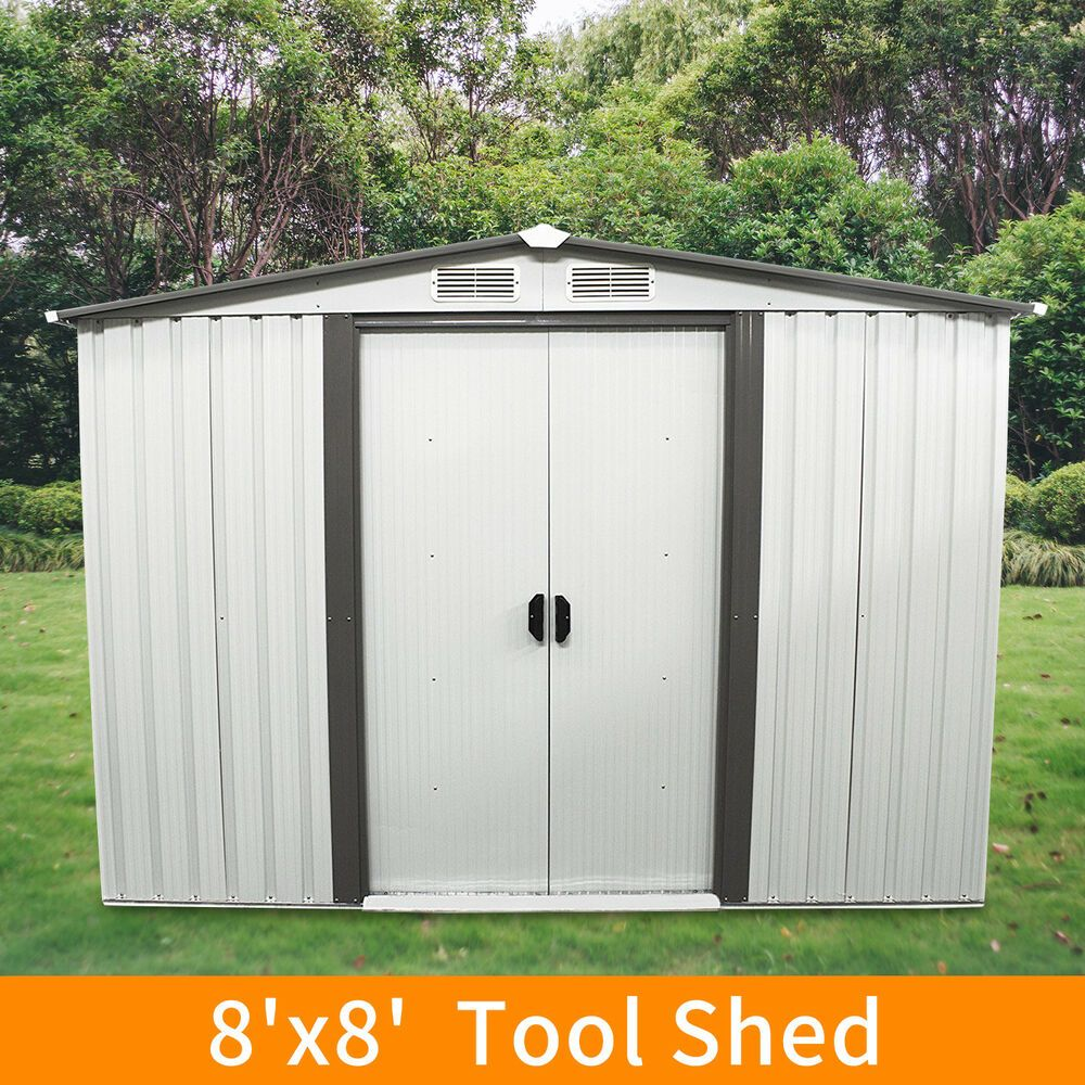 8 X8 Outdoor Garden Storage Shed Tool House Sliding Door Metal New Outdoor Garden Sheds Metal Storage Sheds Shed Storage