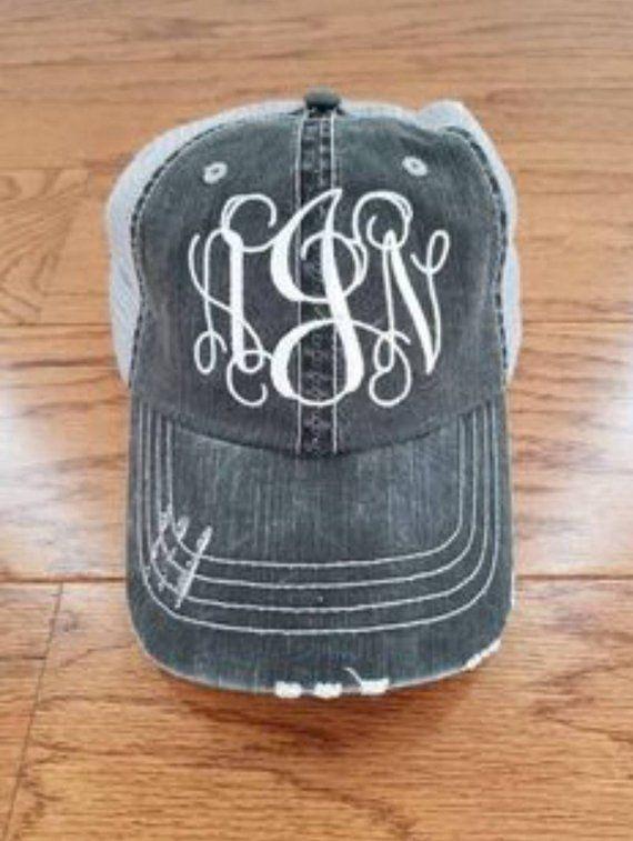 Monogram Trucker Hats. Monogram Distressed Trucker Hat. Trucker hats. Distressed  hats. Monograms. Mo a2a5440b099