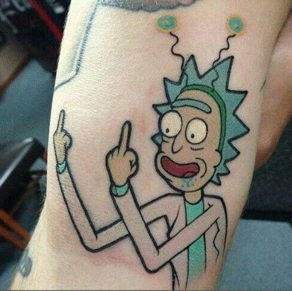 28 awesome rick and morty tattoos from every corner of the for Small cartoon tattoo designs