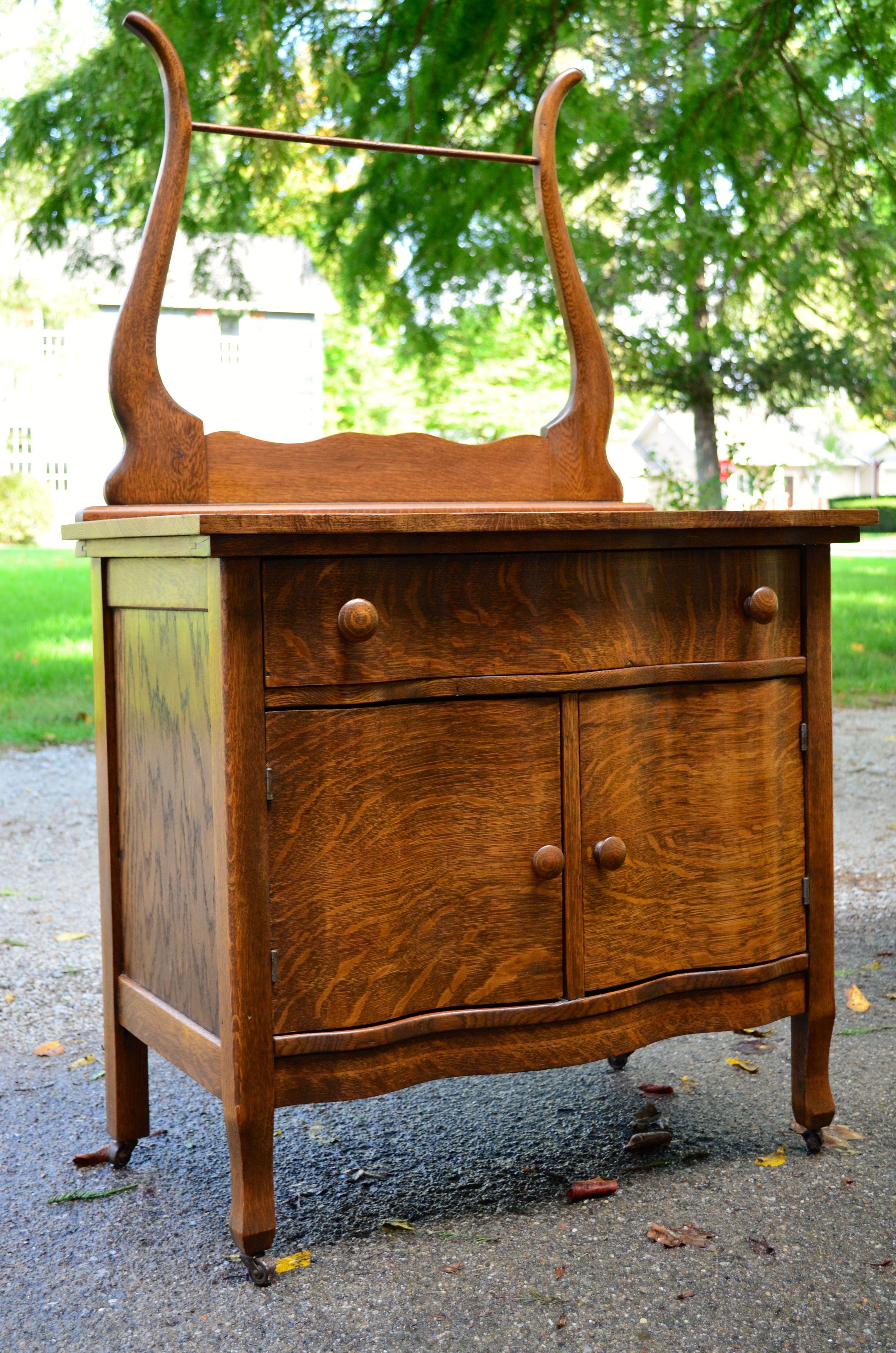 Antique Oak Wash Stand Primitive Furniture Early