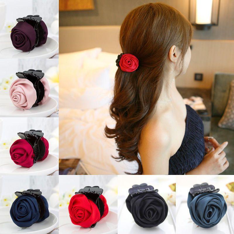 Chiffon Rose Flower Korean Fashion Headwear Bow Jaw Clip Barrette Hair Claw