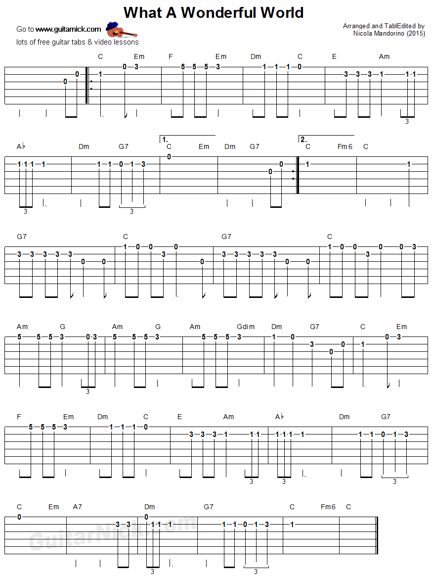 What A Wonderful World Easy Guitar Tablature Guitar Tabs