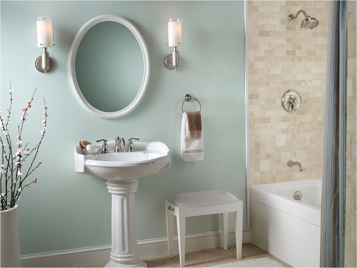 english country bathroom design idea wythe blue walls with white pedestal - Country Bathrooms Designs