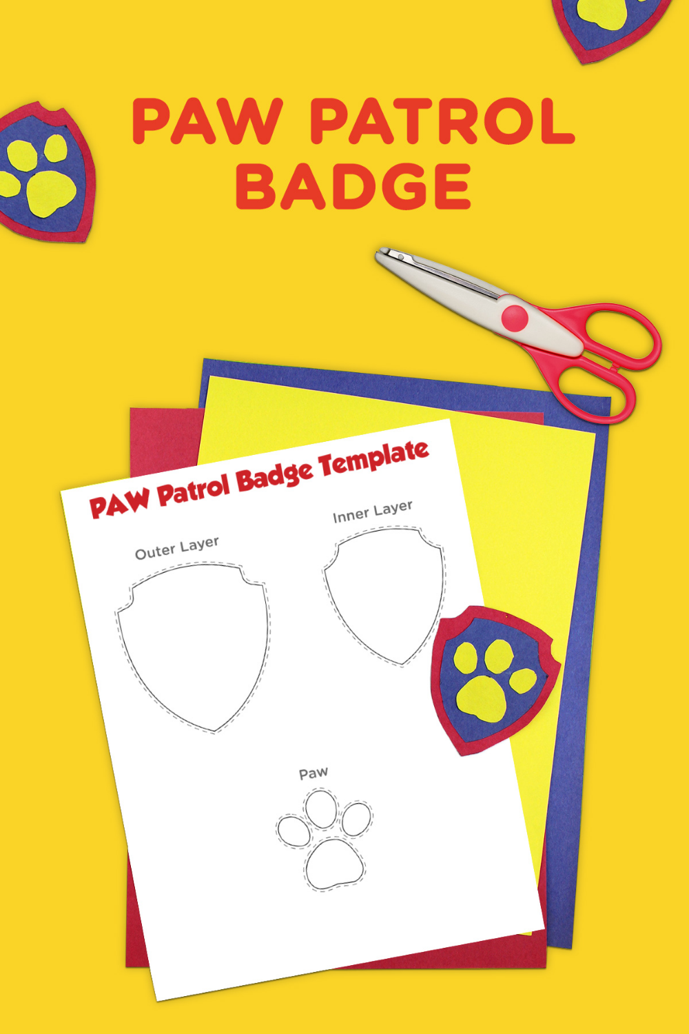 PAW Patrol Printable Badge Template - Paw patrol badge, Paw patrol birthday party, Paw patrol birthday, Paw patrol printables, Paw patrol gifts, Paw patrol - If your little pup is obsessed with PAW Patrol and all that the PAW Patrol badge stands for, make them a PAWsome badge of their very own! Just trace, cut,