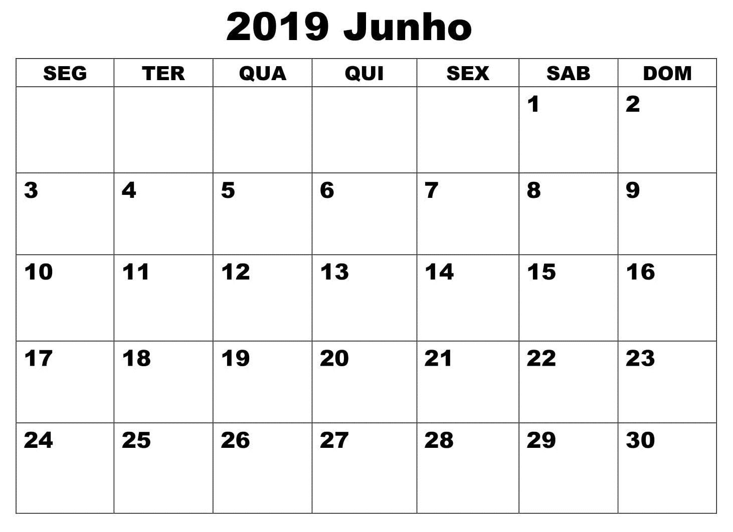 Calendario F2.Calendario Junho 2019 Livre Para Imprimir June 2019