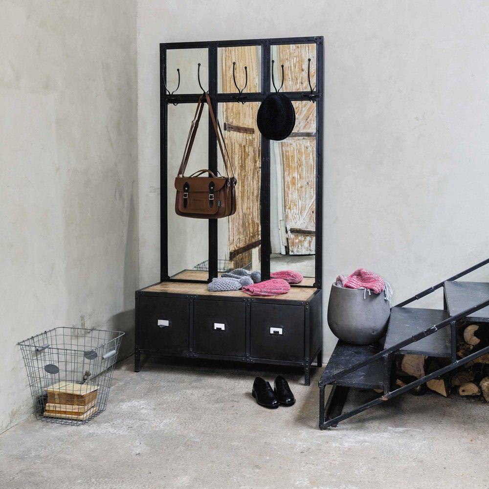 meuble dentre avec miroir en mtal noir l 100 cm maisons du monde
