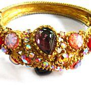 SALE High End Designer Dragon Breath Stones Cabochons Big Bold Bracelet and Earrings