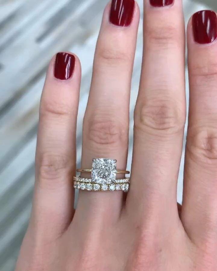 The 'Whisper Thin' Engagement Ring #cushionengagementring