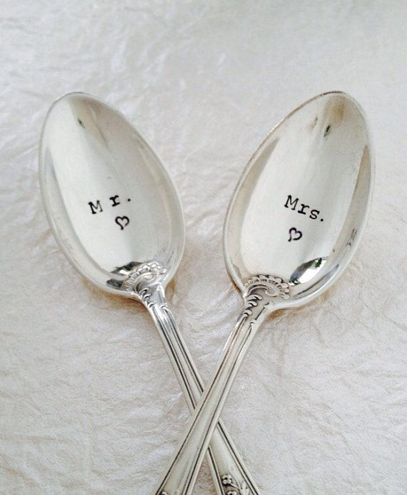 Silverware Wedding Gifts: Engraved Mr. And Mrs. Silver Spoons